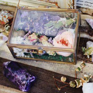 水晶乾燥花玻璃盒