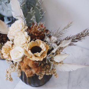 暖日輕奢歐式盆花復古黃銅花禮