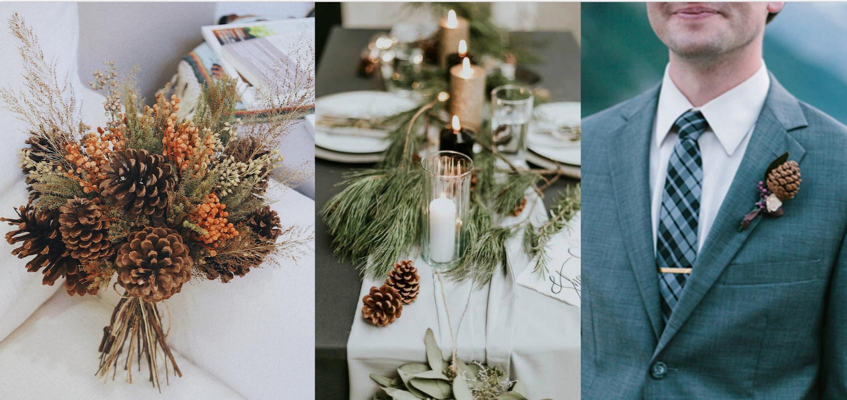 森林中的溫柔姿態,秋冬婚禮專屬的「特色松果捧花」