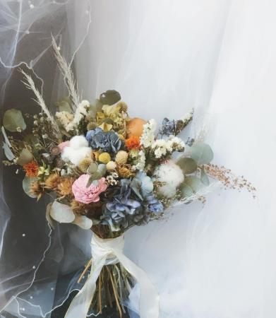 森林復古感大份量手綁新娘捧花乾燥花束