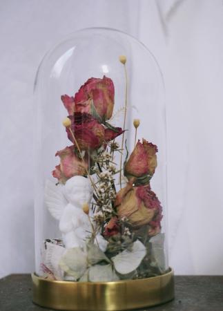 天使與乾燥玫瑰玻璃罩
